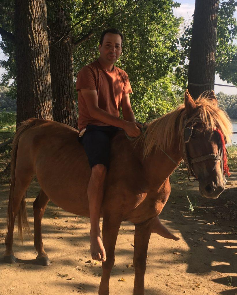 Cristian on horse named Blondie