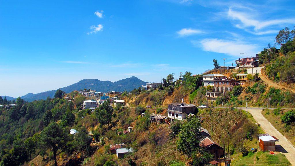 Roadside town in mountains