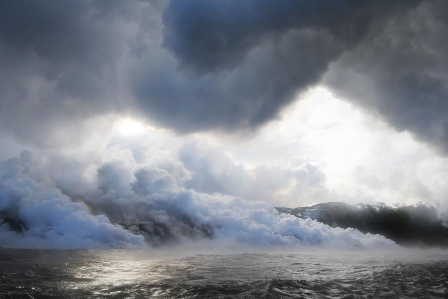 Lava hitting the sea